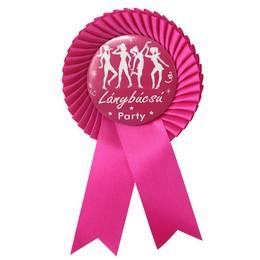 Lánybúcsú Party Ciklámen Szalagos Kitűző Rószaszín-Fehér