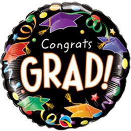 9 inch-es Congrats Grad! Caps&Streamers Ballagási Mini Shape  Lufi Pálcán