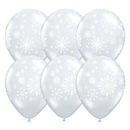 11 inch-es Contemporary Snowflakes - Hópehely Mintás Diamond Clear Karácsonyi Lufi (2