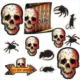 Creepy Carnival - Véres Pókok, Csontváz, Patkány Dekorációs Kartonok, 12 db-os