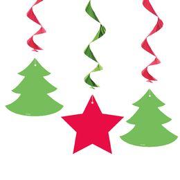 Karácsonyfa és Csillag Függő Dekoráció Karácsonyra, 3 db-os