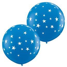 Csillag Mintás Kék Gumi Lufi, 2 db, 91 cm