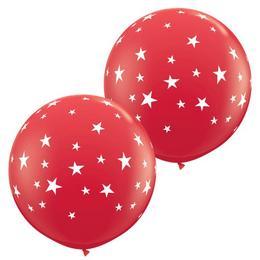 Csillag Mintás Piros Gumi Lufi, 2 db, 91 cm