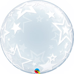24 inch-es Stylish Stars - Csillag Deco Bubble Lufi