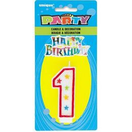 1-es Számgyertya és Happy Birthday Tortadísz