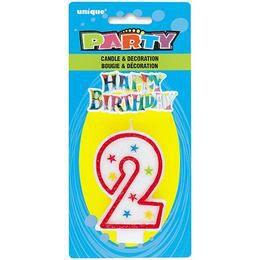 2-es Számgyertya és Happy Birthday Tortadísz