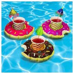 Csokis, Epres és Pink Fánk Alakú Úszó Italtartó - 3 db-os