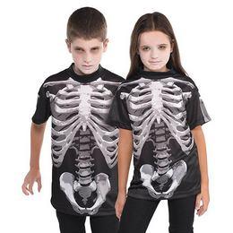 Csontváz Mintás Gyerek Jelmezpóló Halloween-re, 8-10 Éveseknek