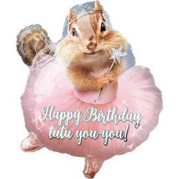Birthday Chipmunk Balerina Mókus Szülinapi Junior Shape Fólia Lufi