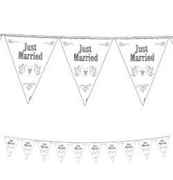 Just Married Feliratú Esküvői Zászlófüzér