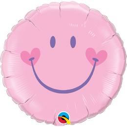 18 inch-es Mosolygó Arc, Lány - Sweet Smile Face - Pink Baby Héliumos Fólia Lufi