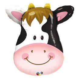 14 inch-es Contented Cow - Mosolygó Tehén Fej Fólia Lufi Pálcán