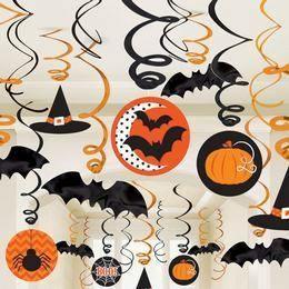 Függő Dekoráció Halloweenre Denevérekkel, Tökökkel és Pókokkal