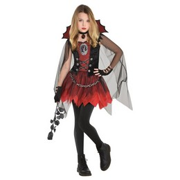 Fekete Piros Vámpír Lány Jelmez Halloween-re
