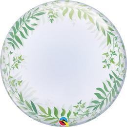 24 inch-es Elegant Greenery - Zöld Levél Mintás Deco Bubble Lufi