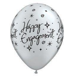 Lufi Eljegyzésre - Happy Engagement Feliratú, Ezüst, 28 cm, 6 db