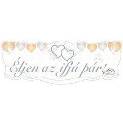 Esküvői Banner Dekoráció - Éljen Az Ifjú Pár! - Felirattal