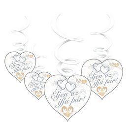 Esküvői Szív Alakú Függő Dekoráció Éljen Az Ifjú Pár Felirattal