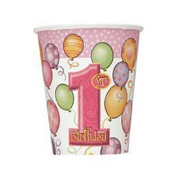 First Birthday Balloons Pink - Első Szülinapi Parti Pohár - 266 ml, 8 db-os