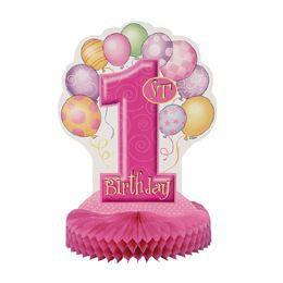 First Birthday Balloons Pink - Első Szülinapi Parti Asztaldekoráció