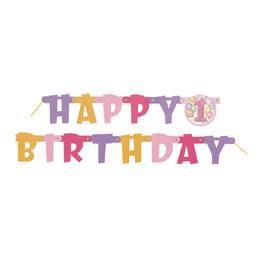 First Birthday Balloons Pink - Első Szülinapi Happy Birthday Betűfüzér