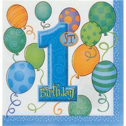 First Birthday Balloons Blue - Első Szülinapi Szalvéta - 33 cm x 33 cm, 16 db-os