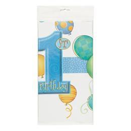 First Birthday Balloons Blue - Első Szülinapi Asztalterítő - 137 cm x 213 cm