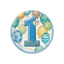 First Birthday Balloons Blue - Első Szülinapi Parti Tányér - 18 cm, 8 db-os
