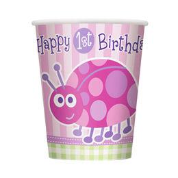 Katica Mintás - 1st Birthday Ladybug Első Szülinapi Parti Pohár - 270 ml, 8 db-os