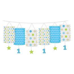 Lampion füzér kisfiúknak az 1. születésnapra - 360 cm