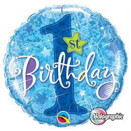18 inch-es 1st Birthday Stars Blue Első Szülinapi Héliumos Fólia Lufi