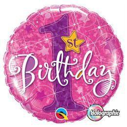18 inch-es 1st Birthday Stars Pink Első Szülinapi Héliumos Fólia Lufi