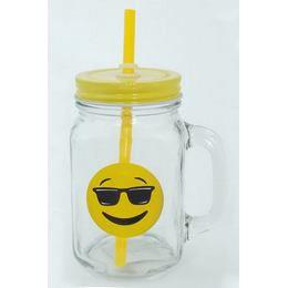 Emoji Befőttes Üveg Pohár - Cool (Napszemüveges)