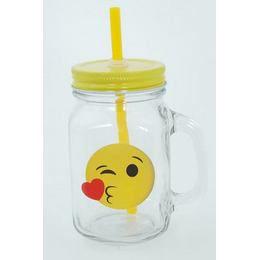 Emoji Befőttes Üveg Koktélos Pohár - Csókos