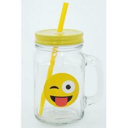 Emoji Befőttes Üveg Pohár - Kacsintós