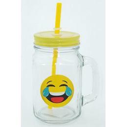 Emoji Befőttes Üveg Pohár - Sírvanevető