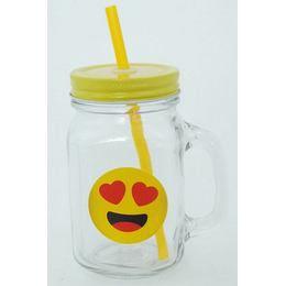 Emoji Befőttes Üveg Pohár - Szerelmes