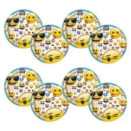 Emoji Papír Parti Tányér - 17 cm, 8 db-os