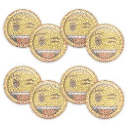 Emoji Papír Parti Tányér - 22 cm, 8 db-os