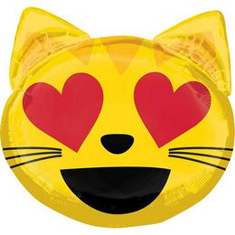 Szerelmes Cica Emoji Super Shape Héliumos Fólia Lufi, 55 cm