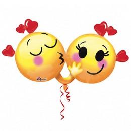 Szerelmes Emoji Pár Super Shape Valentin Napi Héliumos Fólia Lufi