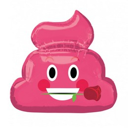 Szerelmes Pink Poo Emoji Héliumos Fólia Lufi, 63 cm