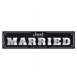 Fekete Just Married Feliratú Esküvői Rendszámtábla - 50 cm x 11 cm