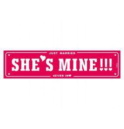 She is Mine Feliratú Esküvői Rendszámtábla - 50 cm x 11 cm