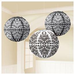 Fekete-Fehér Mintás Gömb Lampion