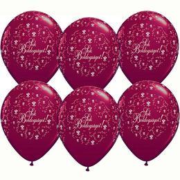 11 inch-es Sok Boldogságot Pearl Burgundy Esküvői Lufi (25 db/csomag)