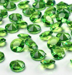 Zöld Gyémánt Alakú Kristály hatású Dekorkő - 100 db-os