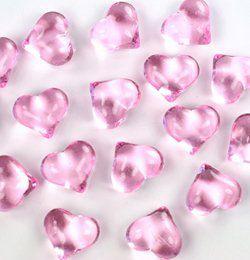 Rózsaszín Szív Alakú Kristály hatású Dekorkő - 30 db-os