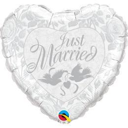 Héliumos Fólia Lufi - Just Married Szív, 46 cm