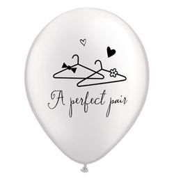 11 inch-es Pearl White A Perfect Pair Esküvői Lufi (25 db/csomag)